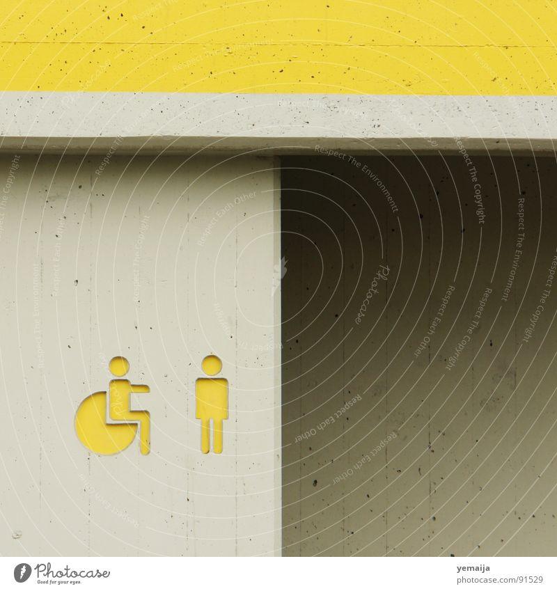 Yellow Gray Concrete Help Toilet Entrance Embrace Handicapped Wheelchair Paintwork Limitation Resting place