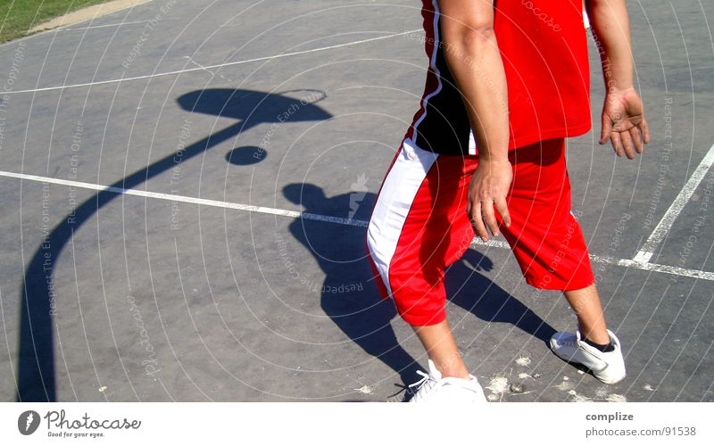 the player Basket Sports Ball sports Red Playing Playground School sport Guy Basketball Shadow Throw Line game Movement