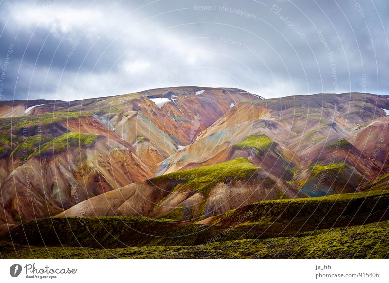 Iceland I Nature Landscape Plant Elements Storm clouds Moss Mountain Volcano Infinity Calm Adventure Relaxation Freedom Reykjavík Volcanic island Mountaineering