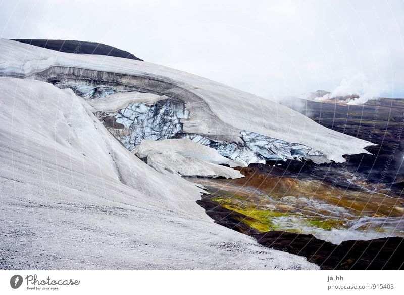 Iceland IV Environment Nature Landscape Plant Elements Climate Climate change Frost Mountain Peak Snowcapped peak Glacier Volcano Greenland Glacier ice
