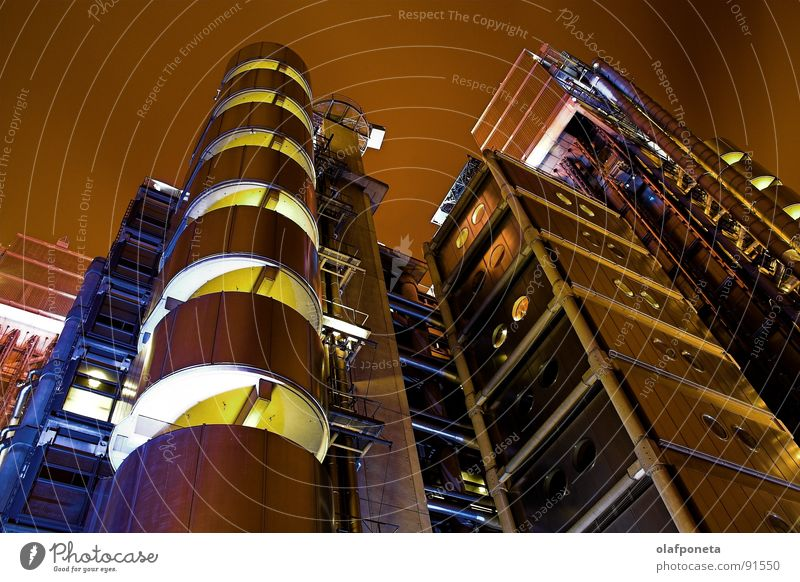 Lloyds Building from the Frog's Perspective Chrome Elevator Solar Power Steel Town Large London Uniqueness High-rise Balcony Night Light Futurism Abstract