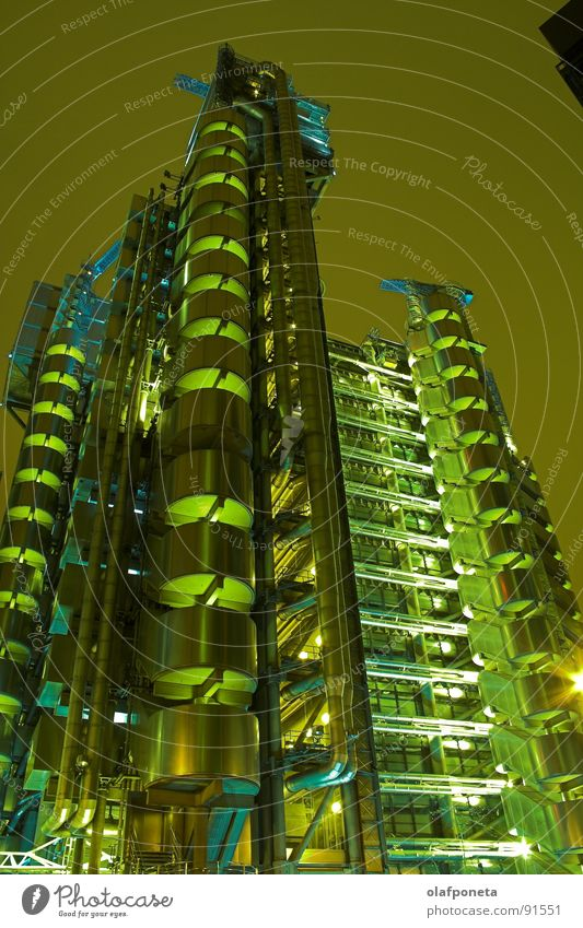 Lloyds Building from the Frog's Perspective 2 Chrome Elevator Solar Power Steel Town Large London Uniqueness High-rise Balcony Night Light Futurism Abstract