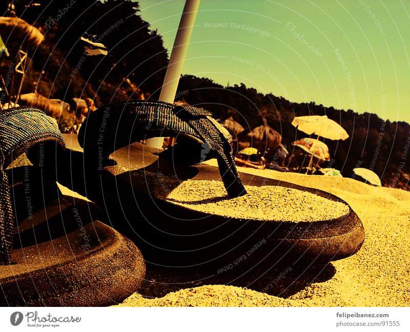 """""""chalupas"""" Beach Colour Coast sandals colors Lomography Sand light sea parasol vacations"""
