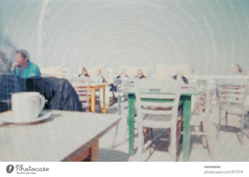 in search of the perfect photograph 2 Netherlands Ocean Beach Soft Turquoise Sunshade Horizon Beach café Cup Chair reduced color Sand Human being