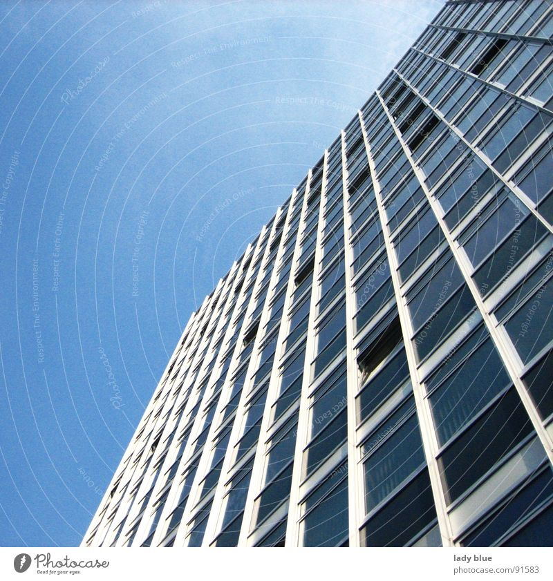 business High-rise Building Window House (Residential Structure) Work and employment Aspire Stripe Large Border Steel Architecture Blue Tall Glass Sky Münster