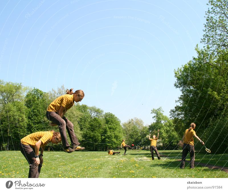 Human being Green Vacation & Travel Tree Summer Joy Loneliness Meadow Sports Warmth Playing Grass Spring Jump Funny Air