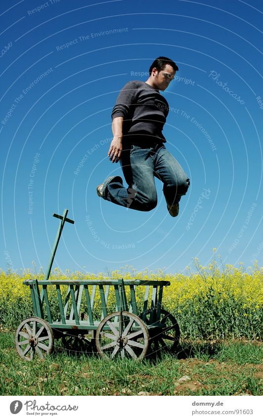 where???? Man Fellow Jump Carriage Trolley Derelict Meadow Degrees Celsius Canola Yellow Summer Brilliant Sweater Pants Footwear Wood Pure Leisure and hobbies