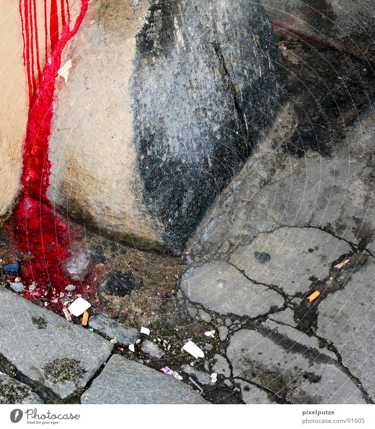 Old Red Colour Cold Wall (barrier) Stone Fear Dangerous Floor covering Broken Safety Grief Tracks Derelict Sidewalk Force