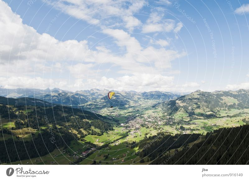 Flight over Gstaad Calm Trip Summer Mountain Flying sports Paragliding Landscape Air Alps Saanenland Bernese Oberland Aircraft Colour photo Exterior shot Day