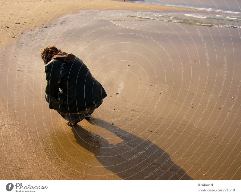 Human being Woman Water Summer Beach Sand Jump Coast Spain Andalucia Cadiz
