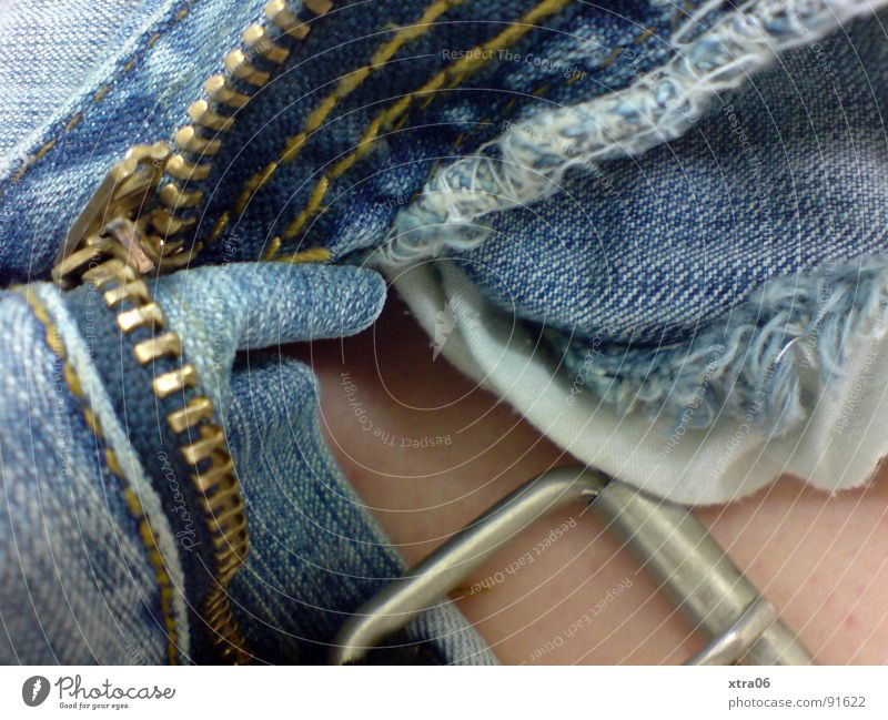 jeans 5 Pants Jeans Buttons Zipper Cloth Ready Clothing Belt Belt buckle Open Skin Blue garment Silver Metal