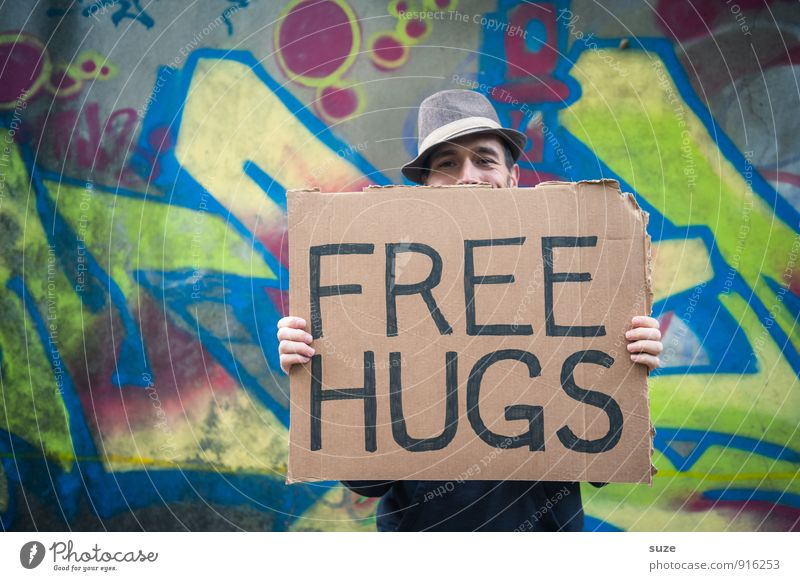 *3,000* Free Hugs Lifestyle Style Joy Leisure and hobbies Valentine's Day Human being Masculine Young man Youth (Young adults) Man Adults Face 1 18 - 30 years