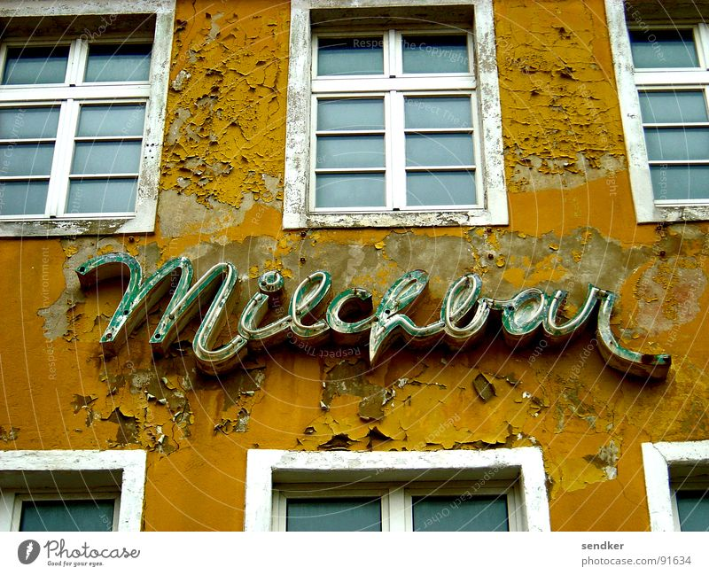 Old House (Residential Structure) Window Sadness Café Grief Bar Advertising To fall Derelict Decline Past Ruin Milk Neon sign Decompose