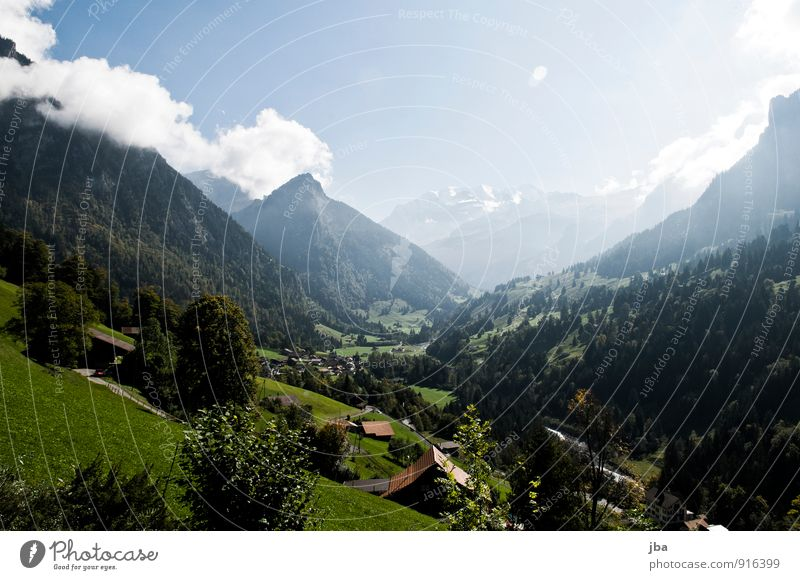 Summer Landscape Calm Mountain Autumn Tourism Hiking Cute Beautiful weather Adventure Alps Remote Haze Mountain village Bernese Oberland Blüemlisalp
