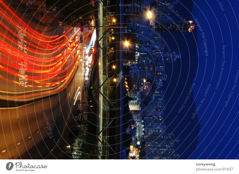night road, split in colour Split Hongkong Town Light Downtown Long exposure lines red cold and warm beam ray car bridge curve blue dynamic motion silent