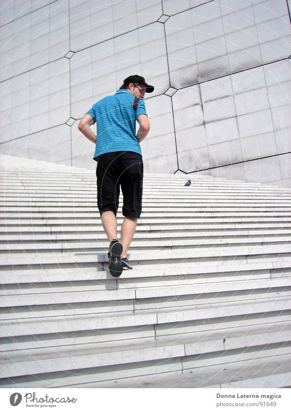 Man Blue Summer Gray Search Stairs Modern Paris In transit La Grande Arche Spanish Stairway