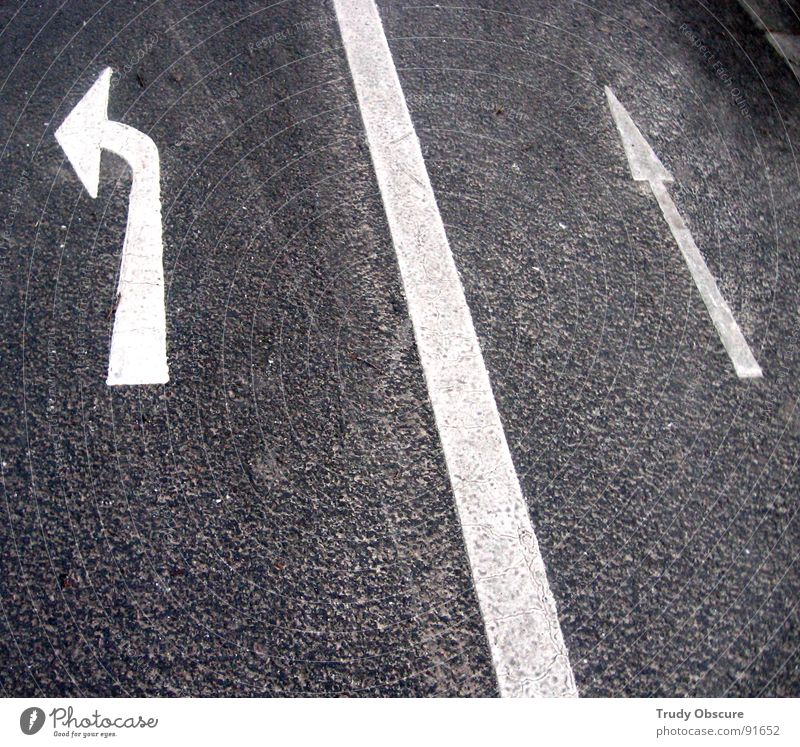 Street Lanes & trails Signs and labeling Motor vehicle Target Arrow Direction Traffic infrastructure Vehicle Clue Rule Regulation No through road Hint