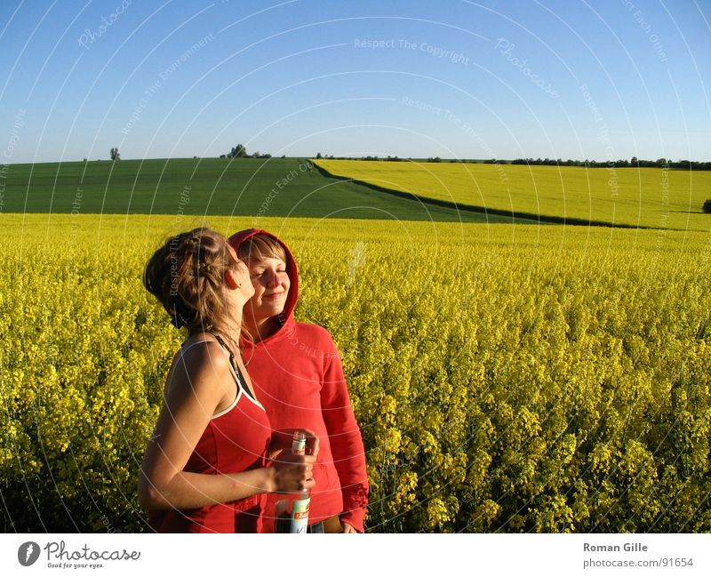 tell me the good things.. Field Yellow Canola Contentment Kissing Friendliness Exterior shot Spring Sky Clarity Blue Plant Calm maize jump Freedom Nature Summer