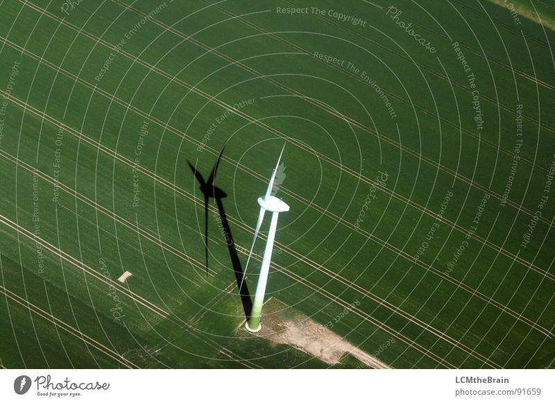 Mill seeks wind... Field Green Agriculture Electricity Meadow Wind Aerial photograph Wind energy plant Energy industry Renewable energy agrarian windmill