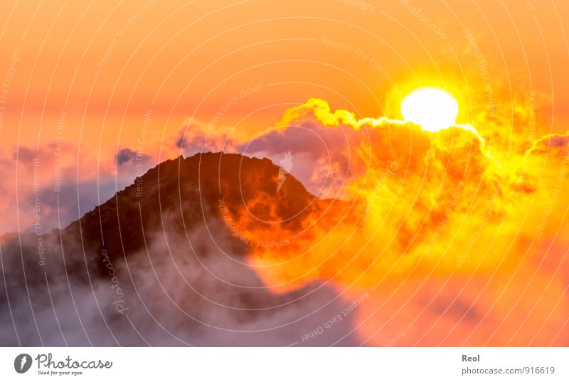 above the clouds Nature Landscape Elements Earth Fire Sky Clouds Sun Sunrise Sunset Sunlight Summer Weather Fog Hill Rock Mountain Peak Discover