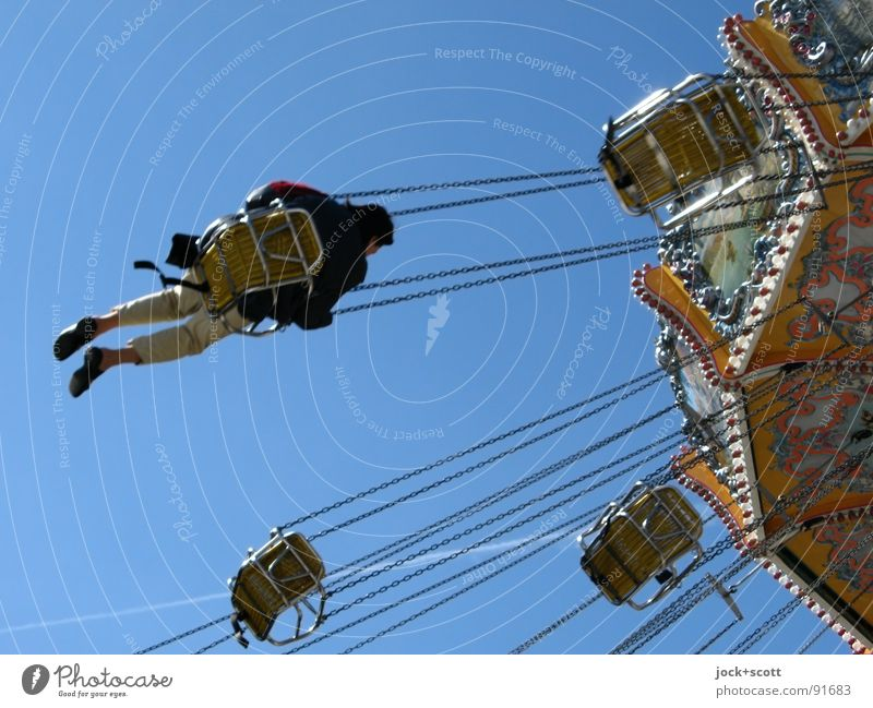 ring-a-ring-a-roses Human being Joy Life Time Flying Sit Speed Retro Tilt Cloudless sky Passion Fairs & Carnivals Seating Rotate Chain Nostalgia