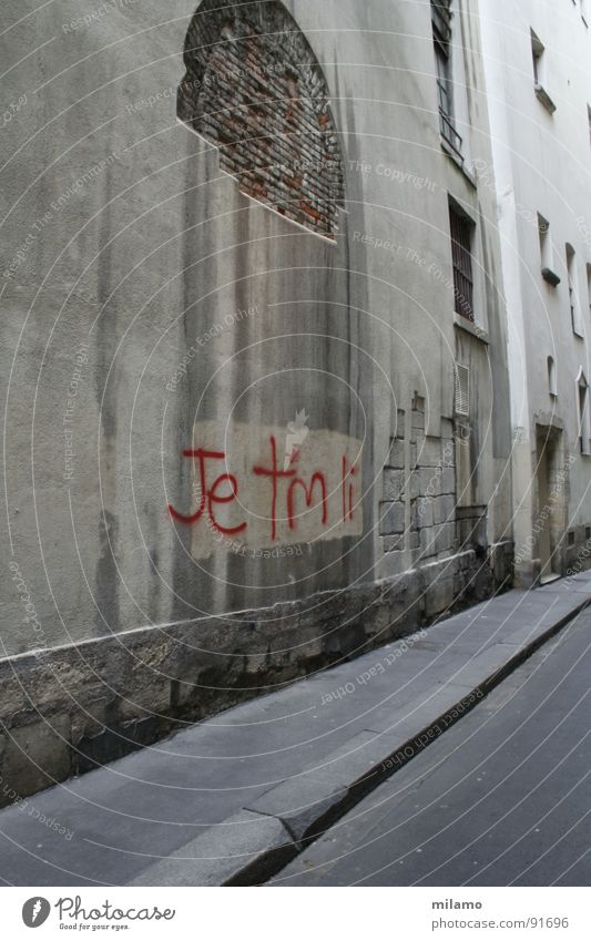 à Paris Alley Wall (building) Curbside Brick Dirty Derelict Red Detail Street steep crumble away Graffiti France