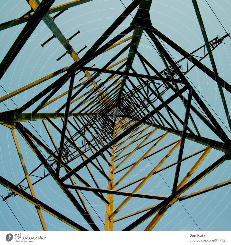 Sky Blue Tall Electricity Open Thin Middle Under Radiation Manmade structures Electricity pylon Geometry Noble Wire Transmission lines Graceful
