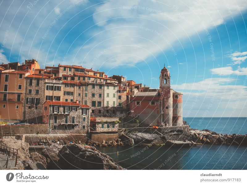 Tellaro Landscape Water Sky Clouds Summer Beautiful weather Rock Coast Bay Ocean Mediterranean sea Italy Europe Village Old town House (Residential Structure)