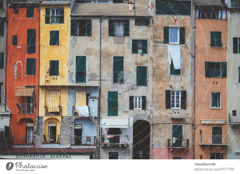 all facade Portovenere Italy Europe Village Fishing village Old town House (Residential Structure) Building Architecture Facade Balcony Window
