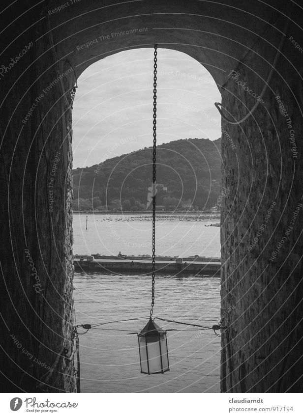 Road to the sea Portovenere Italy Europe Village Fishing village Old town Tunnel Architecture Wall (barrier) Wall (building) Archway Lanes & trails Corridor