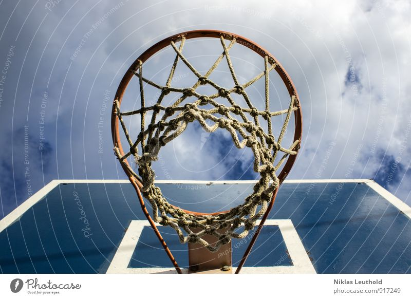basketball hoop Joy Basketball Sports Summer Ball sports Basketball basket Sky Clouds Beautiful weather Knot Playing Jump Tall Athletic Blue White