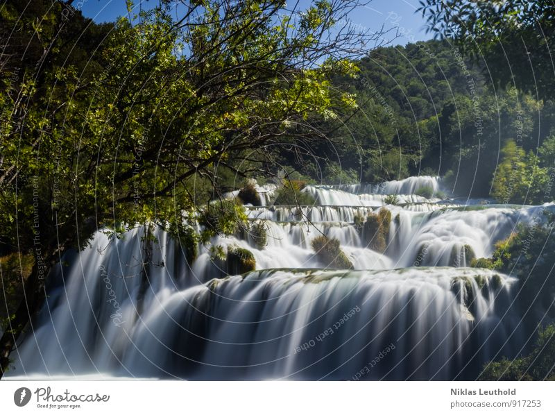 krka Environment Nature Landscape Water Summer Weather Beautiful weather Tree Hill River Waterfall Croatia Relaxation Hiking Esthetic Fluid Fresh Gigantic Speed