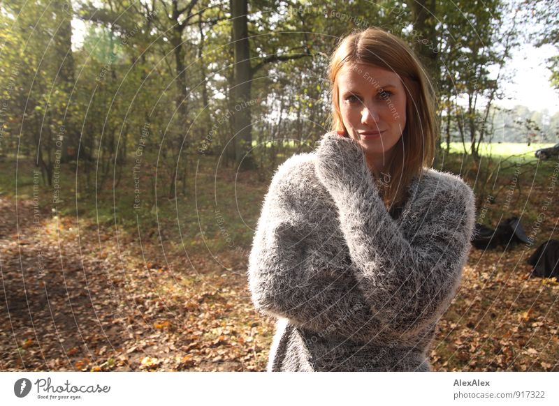 Young woman in grey sweater is standing in a clearing in the woods Trip Youth (Young adults) 18 - 30 years Adults Nature Landscape Beautiful weather Plant Tree