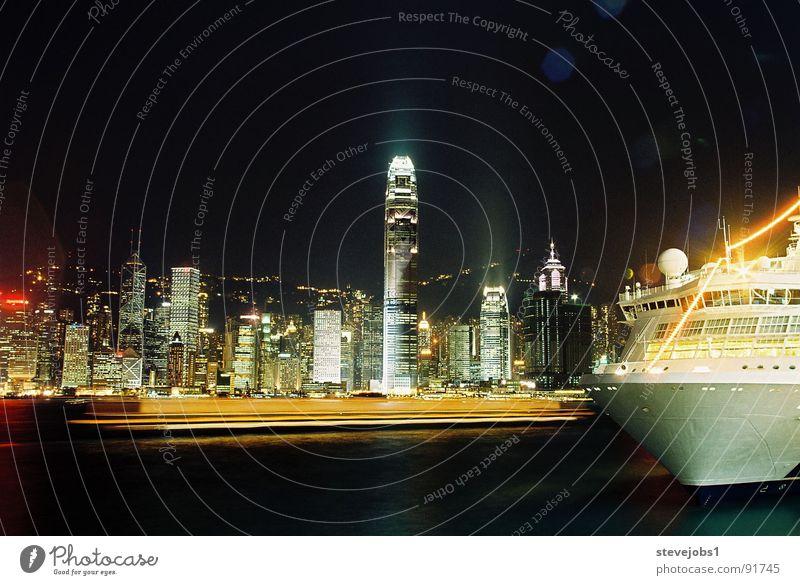 Watercraft Lighting High-rise Harbour China Skyline Hongkong Sea of light Kowloon