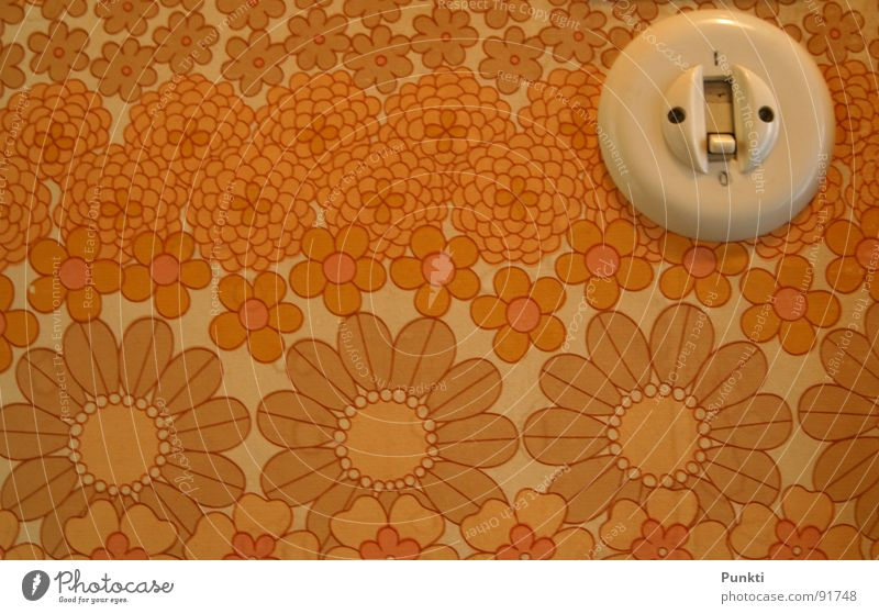 let there be light Light switch Wallpaper Easy Pattern Flower Old-school Hallway Activate Retro