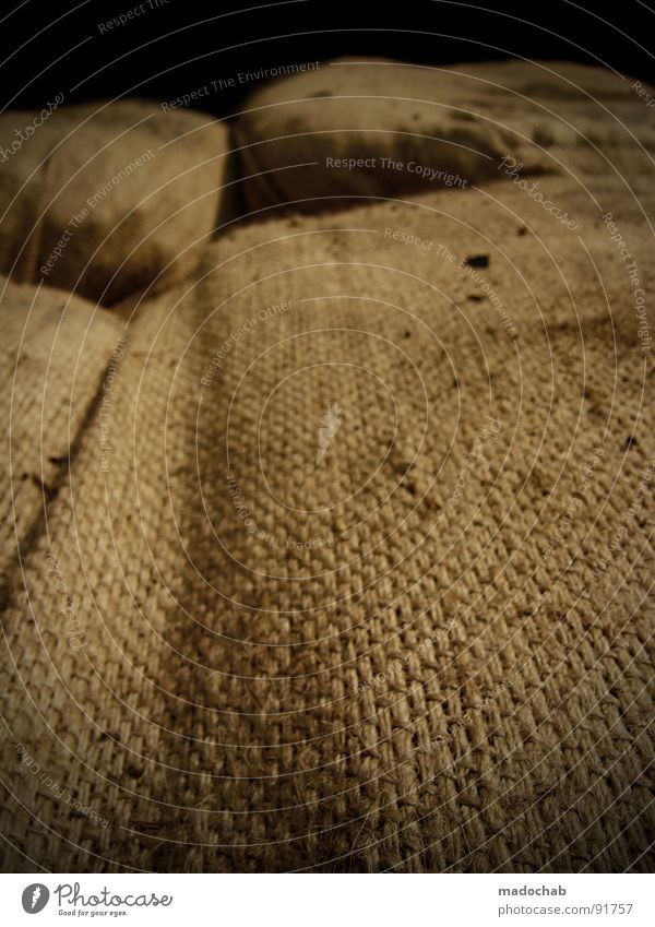 Old Brown Lie Things Cloth Material Stack Textiles Goods Packaging Storage Sack Stitching Containers and vessels
