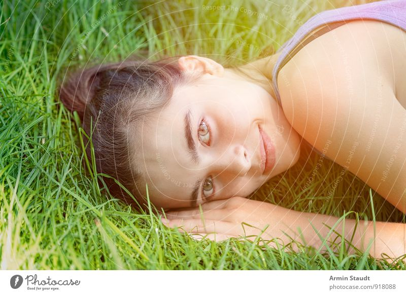Human being Woman Child Nature Youth (Young adults) Beautiful Summer Relaxation Hand Adults Face Emotions Meadow Feminine Grass Spring
