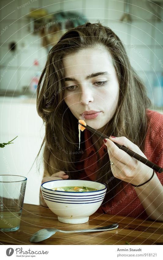 Soup - Food - Chopsticks Stew Nutrition Eating Lunch Asian Food Glass Spoon Bowl Soup plate Lifestyle Style Human being Feminine Woman Adults