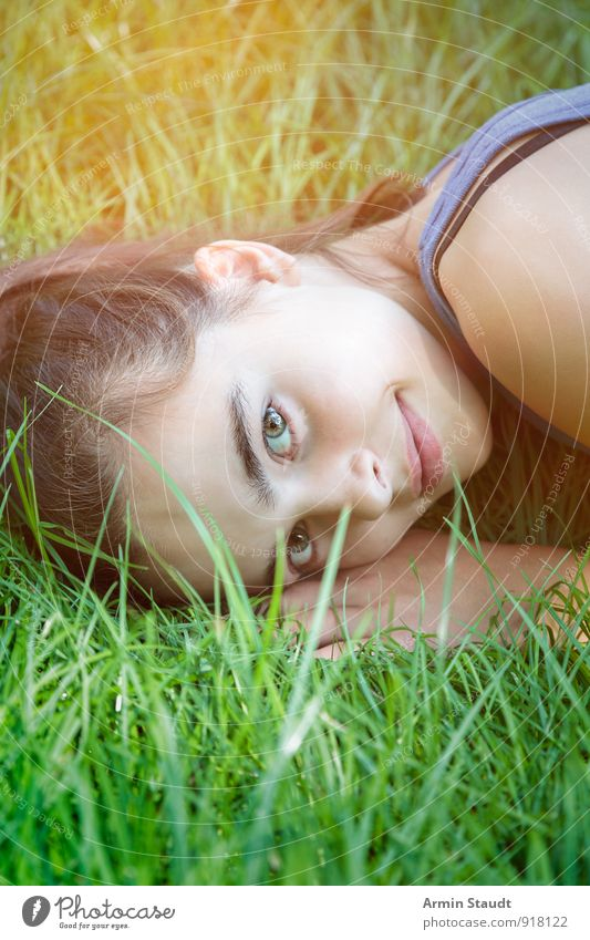 Human being Woman Child Nature Youth (Young adults) Beautiful Green Summer Relaxation Adults Emotions Meadow Grass Spring Natural Happy