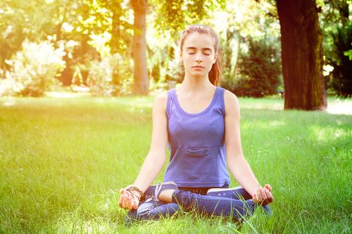 meditation Lifestyle Healthy Wellness Relaxation Meditation Summer Yoga Human being Feminine Woman Adults Youth (Young adults) 1 Nature Park Meadow Sit Positive