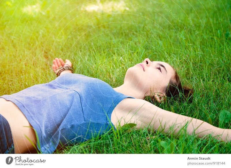 Human being Woman Child Nature Youth (Young adults) Beautiful Summer Relaxation Adults Meadow Grass Spring Happy Healthy Lie Lifestyle