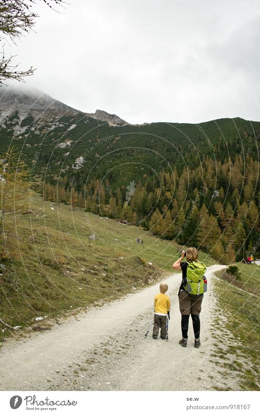 Human being Woman Child Vacation & Travel Green Calm Clouds Forest Adults Mountain Lanes & trails Gray Leisure and hobbies Infancy Stand Hiking