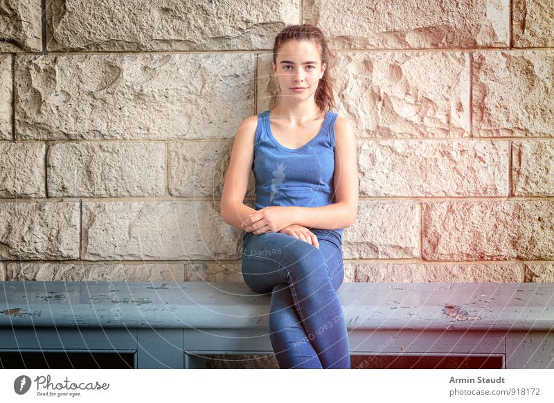 Bench - Sitting - Portrait Lifestyle Style Beautiful Relaxation Summer Human being Feminine Woman Adults Youth (Young adults) 1 13 - 18 years Child