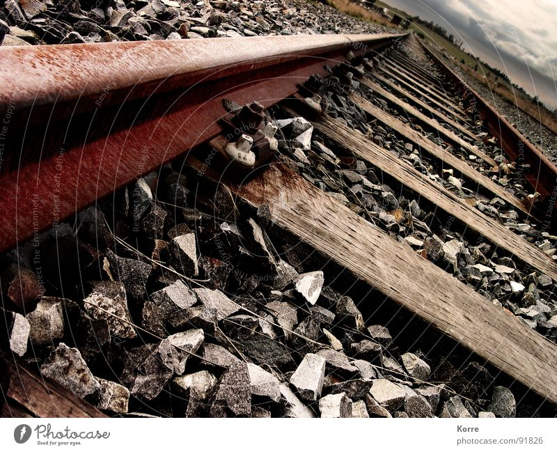 Loneliness Stone Lanes & trails Brown Horizon Transport Railroad Gloomy Logistics Industrial Photography Africa Tracks Transience Railroad tracks Steel Rust