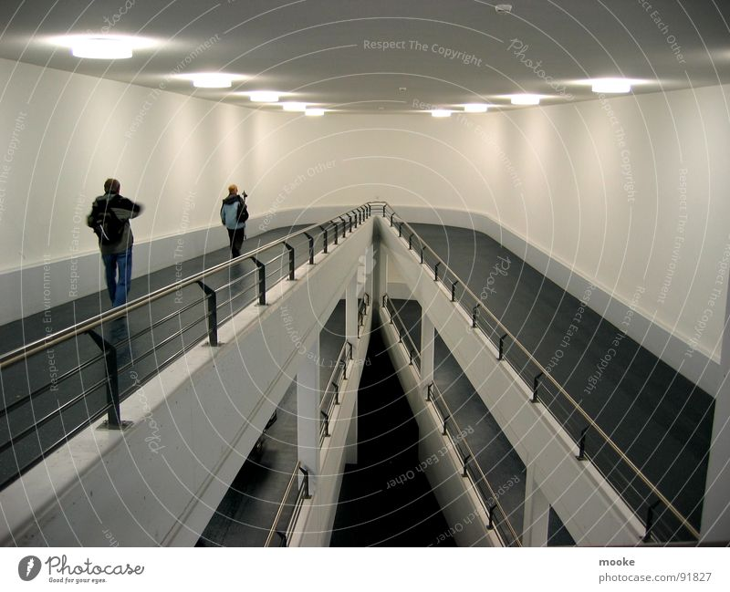 Come & Go Parking level Passage Concrete Black White Light Modern architecture Technology Architecture