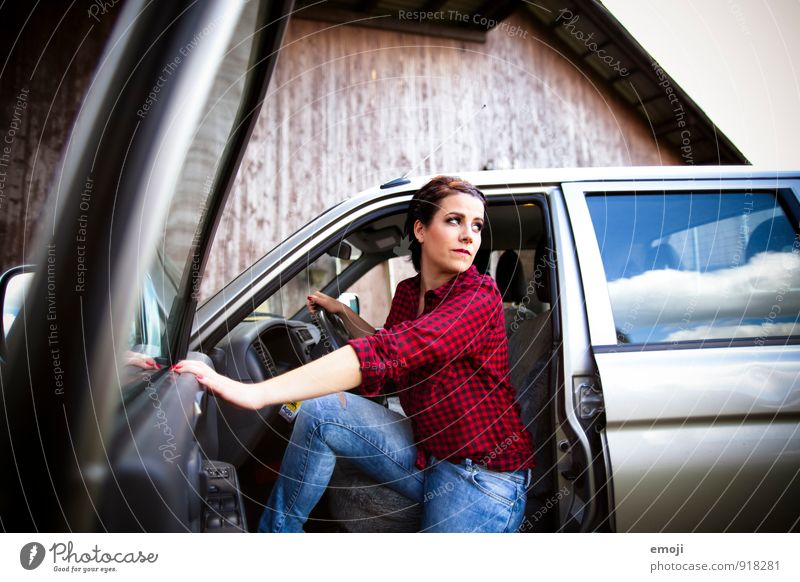 on the road Feminine Young woman Youth (Young adults) Adults 1 Human being 18 - 30 years Vehicle Car Cool (slang) Beautiful Retro Colour photo Exterior shot Day