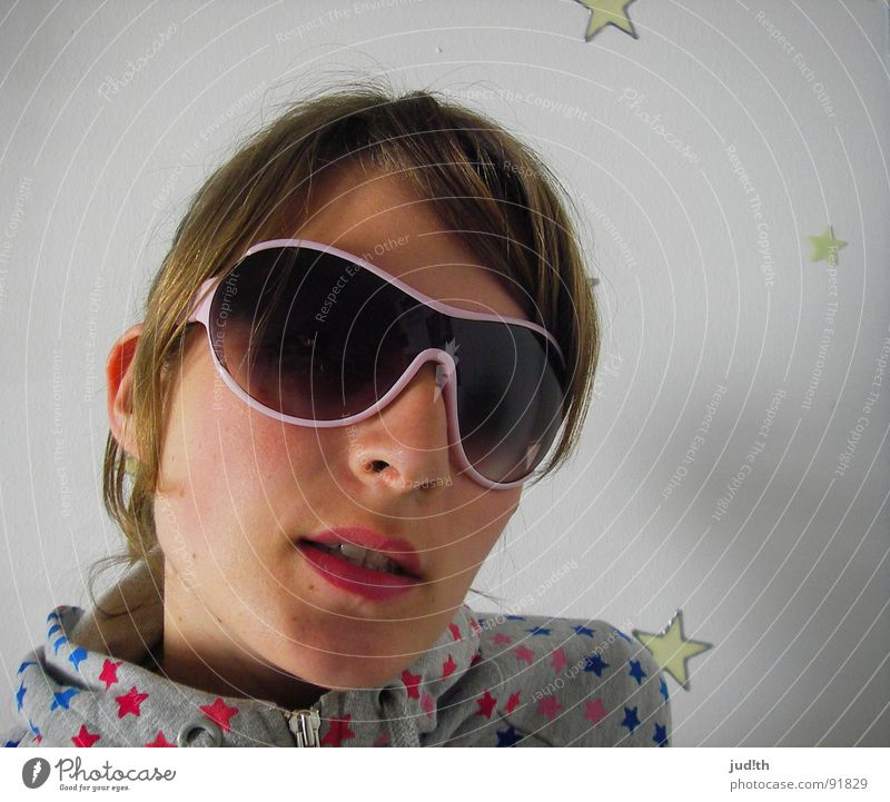Woman Youth (Young adults) White Joy Colour Pink Star (Symbol) Cool (slang) Sunglasses Rainbow Portrait photograph Rose glasses