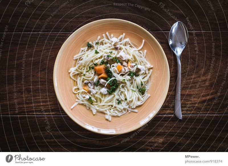 Warmth Healthy Brown Food Nutrition Force Thin Delicious Appetite Crockery Plate Meat Lunch Noodles Spoon Wooden table