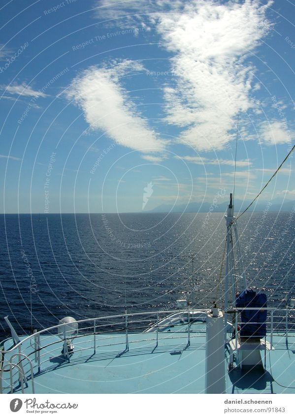 wanderlust Watercraft Ocean Vacation & Travel Summer Horizon Beautiful White Cyan Navigation Island Mediterranean sea Weather Blue Sky