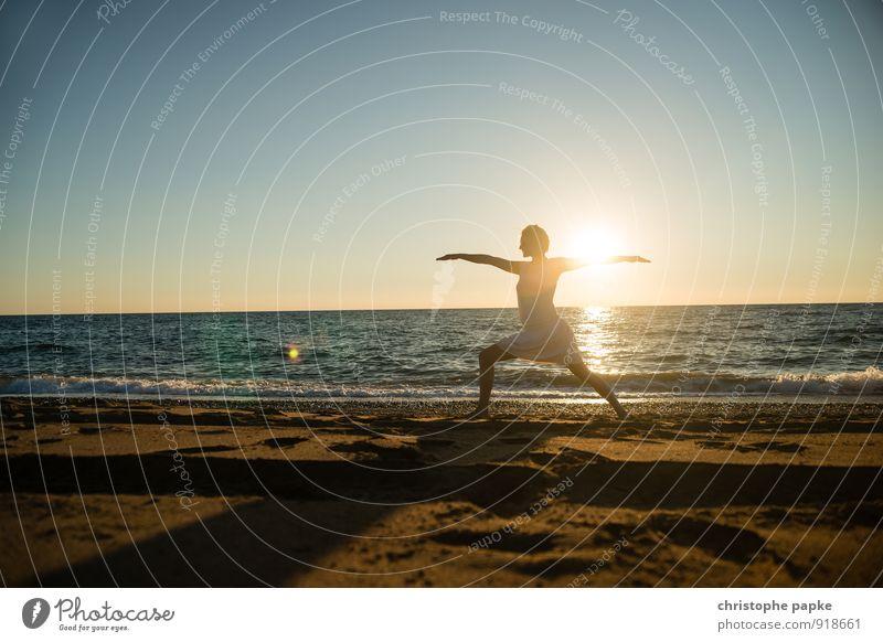Sun salutation II Athletic Fitness Life Harmonious Well-being Relaxation Meditation Vacation & Travel Summer Summer vacation Beach Ocean Sports Sports Training